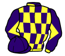 purple and yellow check, yellow and purple diabolo on sleeves