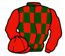 red and dark green check, red sleeves
