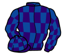royal blue and purple check, purple and royal blue check sleeves and cap
