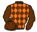 brown and orange diamonds, brown sleeves and cap