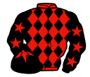 red and black diamonds, black sleeves, red stars, black cap, red star