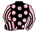 black, pink spots, pink and black striped sleeves and cap