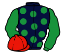 dark blue, emerald green spots and sleeves, red cap