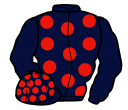 dark blue, red spots, dark blue sleeves, dark blue cap, red spots