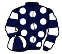 dark blue, white spots, hooped sleeves, quartered cap