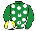 emerald green, white spots, emerald green sleeves, white and yellow quartered cap