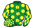 emerald green, yellow spots, check sleeves, emerald green cap, yellow spots