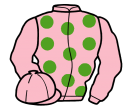 pink, light green spots, pink sleeves and cap
