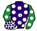 purple, white spots, emerald green sleeves, white spots, white cap, purple spots