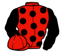 red, black spots and sleeves, red cap