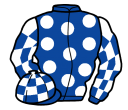 royal blue, white spots, checked sleeves and cap