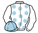 white, light blue spots, light blue cap