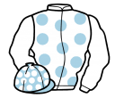 white, light blue spots, white sleeves, light blue cap, white spots