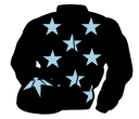 black, light blue stars, black cap, light blue star