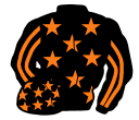 black, orange stars, striped sleeves black cap, orange stars