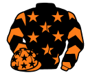 black, orange stars, orange and black chevrons on sleeves, orange cap, black stars