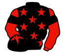 black, red stars, red sleeves, black armlets and star on red cap