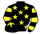 black, yellow stars, hooped sleeves and star on cap