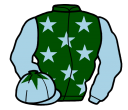 dark green, light blue stars and sleeves, light blue cap, dark green star