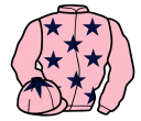pink, dark blue stars, pink sleeves, pink cap, dark blue star