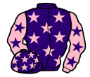 purple, pink stars, pink sleeves, purple stars and stars on cap