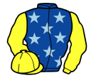 royal blue, light blue stars, yellow sleeves and cap