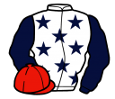 white, dark blue stars and sleeves, red cap