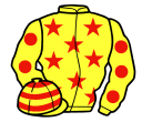 yellow, red stars, yellow sleeves, red spots, hooped cap