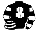 black, white cross of lorraine, hooped sleeves and cap