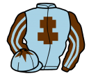 light blue, brown cross of lorraine, brown and light blue striped sleeves, light blue cap, brown star