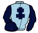 light blue, dark blue cross of lorraine, sleeves and cap