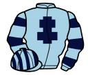 light blue, dark blue cross of lorraine, hooped sleeves, striped cap