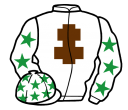 white, brown cross of lorraine, white sleeves, emerald green stars, white cap, emerald green stars