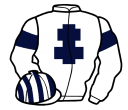 white, dark blue cross of lorraine and armlets, white and dark blue striped cap