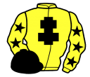 yellow, black cross of lorraine, yellow sleeves, black stars, black cap