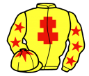 yellow, red cross of lorraine, yellow sleeves, red stars, yellow cap, red star