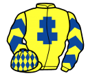 yellow, royal blue cross of lorraine, chevrons on sleeves, yellow cap, royal blue diamonds