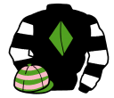 black, light green diamond, black and white hooped sleeves, light green and pink hooped cap