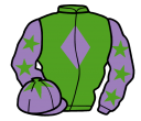 light green, mauve diamond, mauve sleeves, light green stars, mauve cap, light green star