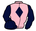 pink, dark blue diamond, sleeves and cap