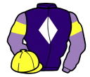 purple, white diamond, mauve sleeves, yellow armlets, yellow cap