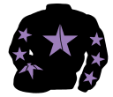 black, mauve star, black sleeves, mauve stars, black cap, mauve star