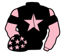 black, pink star, pink sleeves, black armlets and stars on pink cap