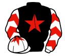black, red star, white and red chevrons on sleeves, white cap, red star