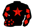 black, red star, diamonds on sleeves, black cap, red stars