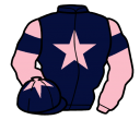 dark blue, pink star, pink sleeves, dark blue armlets, dark blue cap, pink star