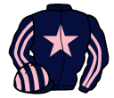dark blue, pink star, striped sleeves and cap