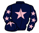dark blue, pink star, dark blue sleeves, pink stars, dark blue cap, pink star