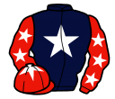 dark blue, white star, red sleeves, white stars, red cap, white star
