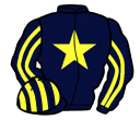 dark blue, yellow star, striped sleeves and cap